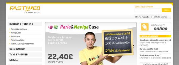 Fastweb: anteprima del sito dell'operatore di telefonia fissa, mobile e servizi ADSL