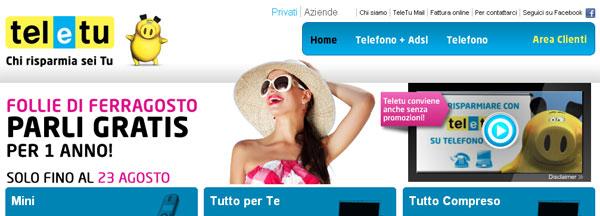 TeleTu: anteprima del sito dell'operatore di telefonia fissa e Internet ADSL