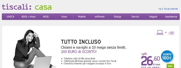 Tiscali: anteprima del sito dell'operatore di telefonia fissa, mobile e Internet ADSL