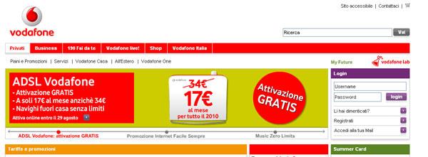 Vodafone Italia: anteprima del sito dell'operatore di telefonia fissa, mobile e servizi ADSL