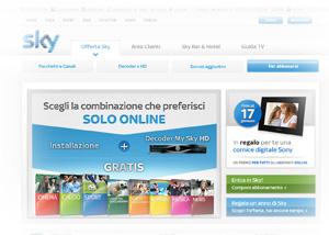 Offerta Sky Gennaio 2012: istantanea dal sito Internet