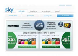 Offerta Sky TV: pagina della promozione online di Febbraio 2012